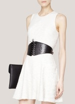 alaia lace up black belt with white dress.JPG