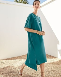 Eileen Fisher teal dress.jpg